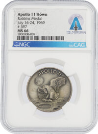 Apollo 11 Flown MS66 NGC Sterling Silver Robbins Medallion, Serial Number 397, Directly From The Armstrong Family Collec...