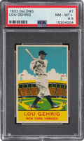 Baseball Cards:Singles (1930-1939), 1933 Delong Lou Gehrig #7 PSA NM-MT+ 8.5 - Pop One, None Higher! ...