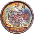 Seated Half Dimes, 1837 H10C No Stars, Large Date (Curl Top 1) AU53 PCGS. CAC. NGC Census: (39/901). PCGS Population: (26/693). CDN: $385 Whsl...