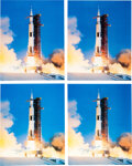Explorers:Space Exploration, Buzz Aldrin Signed Large Apollo 11 Launch Color Photos (Four), Originally from His Personal Collection, with Certificate of Au... (Total: 4 )