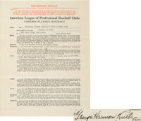 1933 Babe Ruth Signed New York Yankees Player's Contract