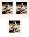 """Explorers:Space Exploration, Buzz Aldrin Signed Large Apollo 11 Lunar Surface """"Visor"""" Color Photos (Three), Originally from His Personal Collection, with C... (Total: 3 )"""