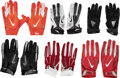 Football Collectibles:Others, 2012-19 Chiefs/Cardinals/New England Patriots Game Worn & Unwashed Gloves Lot of 6.... (Total: 6 items)