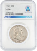 Explorers:Space Exploration, Coins: 1951 50¢ VF30 NGC Franklin Half Dollar Directly Fr...