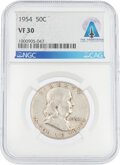 Explorers:Space Exploration, Coins: 1954 50¢ VF30 NGC Franklin Half Dollar Directly Fr...