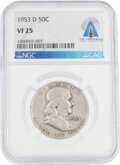 Explorers:Space Exploration, Coins: 1953-D 50¢ VF25 NGC Franklin Half Dollar Directly ...