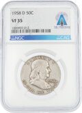 Explorers:Space Exploration, Coins: 1958-D 50¢ VF35 NGC Franklin Half Dollar Directly ...