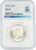 Explorers:Space Exploration, Coins: 1964-D 50¢ MS63 NGC Kennedy Half Dollar Directly F...