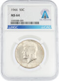 Explorers:Space Exploration, Coins: 1966 50¢ MS64 NGC Kennedy Half Dollar Directly Fro...