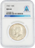 Explorers:Space Exploration, Coins: 1967 50¢ MS64 NGC Kennedy Half Dollar Directly Fro...