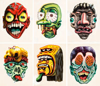 Basil Wolverton, Wally Wood, and Norman Saunders Make Your Own Name Topps Stickers Illustration Original Art Group... (T...