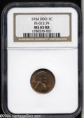 1934 1C Doubled Die Obverse MS65 Red and Brown NGC. FS-013.79. Golden-red toning with tan accents occupies each side. No...