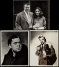 "Movie Posters:Miscellaneous, Orson Welles (Various, 1938-1955). Overall: Fine/Very Fine. Portrait Photos (3) (Approx. 8"" X 10"") Florence Vandamm Photogra... (Total: 3 Items)"
