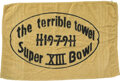 """Football Collectibles:Others, 1979 Super Bowl XIII """"Terrible Towel"""" from The Jimmy """"The Greek"""" Collection...."""