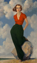 Paintings, James Montgomery Flagg (American, 1877-1960). The Beauty. Oil on canvas . 40 x 24 inches (101.6 x 61.0 cm). Signed lower...