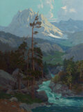 Paintings, Elmer Wachtel (American, 1864-1929). Sierra Runoff. Oil on canvas. 32-1/4 x 24-1/4 inches (81.9 x 61.6 cm). Signed lower...