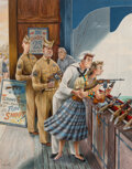 Paintings, Constantin Alajalov (American, 1900-1987). Shooting Gallery, The Saturday Evening Post cover, September 12, 1953. Gouach...