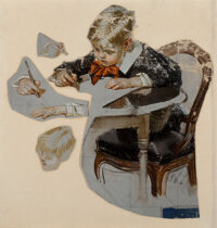 Joseph Christian Leyendecker (American, 1874-1951) Boy's Letter to Santa, The Saturday Evening Post cover study