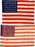 Military & Patriotic:WWI, WWI 16th Infantry Regiment July 4, 1917 Paris March 48-Star Parade Flag.. ... (Total: 2 )