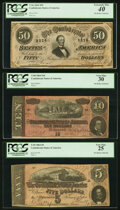 Confederate Notes:1864 Issues, T66 $50 1864 PF-13 Cr. 502. PCGS Extremely Fine 40;. T68 $10 1864 PF-27 Cr. 548. PCGS Very Fine 30;. T69 $5 1864 PF-9 ... (Total: 3 notes)