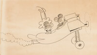 Plane Crazy Mickey Mouse and Minnie Mouse Animation Drawing by Ub Iwerks (Walt Disney, 1928-29)