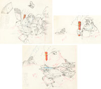The Autograph Hound Studio Guard Color Model/ Animation Drawings Group of 3 (Walt Disney, 1939).... (Total: 3 Items)