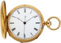 Timepieces:Pocket (pre 1900) , Swiss, 18k Gold Two-Train Pocket Watch With Ruby Cylinder Escapement, Independent Dead-Beat Center Seconds, circa 1870. ...