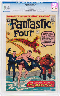 Fantastic Four #4 (Marvel, 1962) CGC NM 9.4 White pages