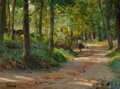 Paintings, Richard Alan Schmid (American, b. 1934). Woodland Path. Oil on Masonite. 11-3/4 x 15-7/8 inches (29.8 x 40.3 cm). Signed...