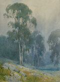 Paintings, Percy Gray (American, 1869-1952). Misty Morning in a California Eucalyptus Grove. Watercolor and pencil on paper laid on...