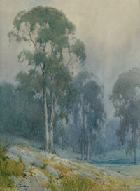 Percy Gray (American, 1869-1952) Misty Morning in a California Eucalyptus Grove Watercolor and penci