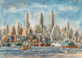 Works on Paper, Reginald Marsh (American, 1898-1954). Lower Manhattan from the East River, 1938. Watercolor and pencil on paper. 14 x 20...