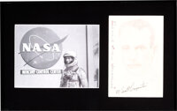 Scott Carpenter Signed Original Drawing with Silver Spacesuit Photo in Framed Display
