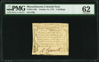 Massachusetts October 16, 1778 2s PMG Uncirculated 62