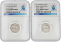 """Explorers:Space Exploration, Apollo 11: Two """"Green Cheese Penny"""" Moon Money Silver Tokens PF 69 Ultra Cameo NGC Originally From The Armstrong Family Collec... (Total: 2 Items)"""
