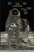 "Explorers:Space Exploration, Buzz Aldrin Signed ""One Giant Leap"" Foil Etching from a Pa..."