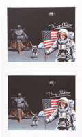 Explorers:Space Exploration, Buzz Aldrin Signed Cover Art Prints (Two) of Richard Hilliard's Book Neil, Buzz and Mike Go to the Moon...