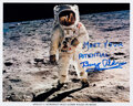 """Explorers:Space Exploration, Buzz Aldrin Signed Apollo 11 Lunar Surface """"Visor"""" Photo with Added Motivational """"Meet Your Potential"""" Slogan, Ori..."""