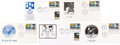 """Explorers:Space Exploration, Apollo 11 """"First Man On The Moon"""" Stamp: Five Different Fi..."""