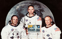 "Apollo 11 ""First Man On The Moon"" Stamp: Large White Spacesuit Color Postcard, Originally from Buzz Aldrin's P..."