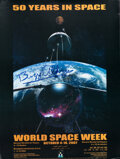 """Explorers:Space Exploration, Buzz Aldrin Signed """"World Space Week"""" Poster, 2007, with G..."""