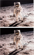 """Explorers:Space Exploration, Buzz Aldrin Signed Large Apollo 11 Lunar Surface """"Visor"""" Color Photos (Two), Originally from His Personal Collection, with Cer... (Total: 2 )"""
