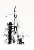 """Explorers:Space Exploration, Gemini 10: Michael Collins Signed Paul Calle Limited Edition, #85/250, """"Gemini 10 Launch"""" Print, from the Calle Fa..."""