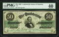 Confederate Notes:1862 Issues, T50 $50 1862 PF-6 Cr. 353 PMG Extremely Fine 40.. ...