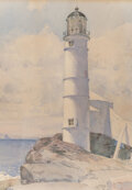 Works on Paper, Childe Hassam (American, 1859-1935). Lighthouse, Isle of Shoals, 1886. Watercolor on paper. 16-1/2 x 12 inches (41.9 x 3...