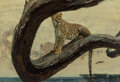 Paintings, Bob Kuhn (American, 1920-2007). Leopard in Tree. Oil on Masonite. 23-3/4 x 35-3/4 inches (60.3 x 90.8 cm). Signed lower ...