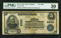 National Bank Notes:West Virginia, Terra Alta, WV - $5 1902 Plain Back Fr. 598 The First National Bank Ch. # 6999 PMG Very Fine 30.. ...