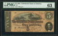 Confederate Notes:1864 Issues, T69 $5 1864 PF-1 Cr. 558 PMG Choice Uncirculated 63.