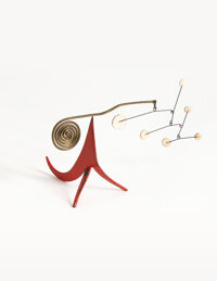 Alexander Calder (1898-1976) Seis Puntos Blancos Sobre Rojo, 1955 Sheet metal, brass, wire, and pain