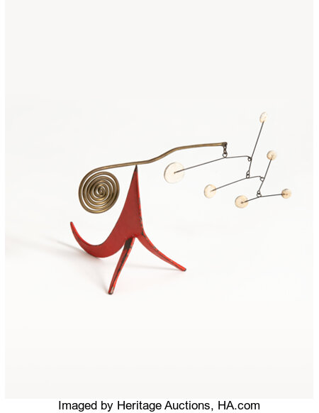Alexander Calder (1898-1976) Seis Puntos Blancos Sobre Rojo, 1955 Sheet metal, brass, wire, and paint 3-3/4 x 5-1/2 x...